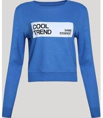 """blusão de moletom felpado feminino cropped """"cool trend"""" azul"""