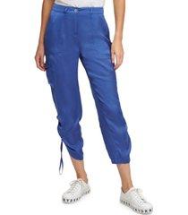 dkny shirred-hem soft cargo pants