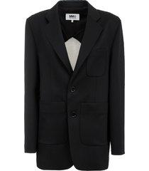 mm6 maison margiela contrasting single-breasted blazer