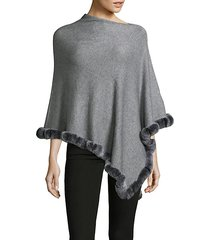 angled rex rabbit fur trimmed poncho