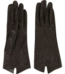 chanel pre-owned stitched interlocking cc gloves - brown