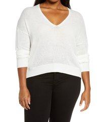 plus size women's bp. rib v-neck cotton blend sweater, size 4x - ivory