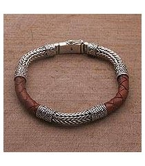 men's sterling silver and leather bracelet, 'royal weave in brown' (indonesia)
