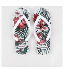 chinelo masculino havaianas aloha estampado floral branco