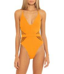 women's isabella rose queensland illusion one-piece swimsuit, size medium - orange