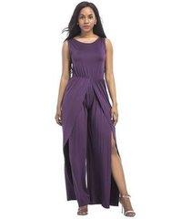 mono elegante para mujer de verano con cintura alta y mamelucos con cinturón ropa morada nueva moda-púrpura