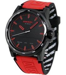 reloj para hombre diesel dz1911 negro-rojo pulso silicona
