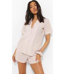 tall pyjama set met gestreepte top, shorts en haarelastiek, tan