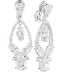 anne klein multi-crystal and pave orbital drop e-z comfort clip-on earrings