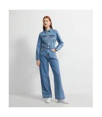 macacão wide leg jeans com costuras e bolsos frontais | blue steel | azul | m