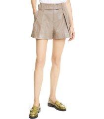 women's ganni women's leather shorts, size 6 us - beige