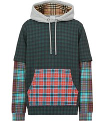 men's burberry hallows patchwork check cotton blend hoodie