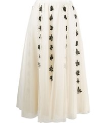 redvalentino beaded-embellished tulle midi skirt - neutrals