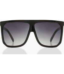 oversized zonnebril met platte bovenkant, zwart
