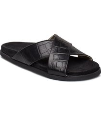 route croco cross slipper shoes summer shoes flat sandals svart royal republiq