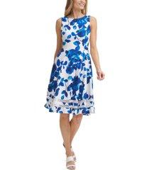 calvin klein illusion-trim printed dress