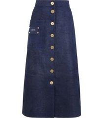 fendi suede a-line skirt - blue