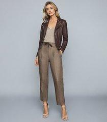 reiss tallis - leather biker jacket in plum, womens, size 12