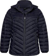 jacket quilted plus hood zip short gevoerd jack blauw zizzi