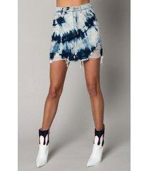 akira all in my blue tie dye mini distressed denim skirt
