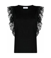 dondup camiseta de algodão com detalhe de babados - preto
