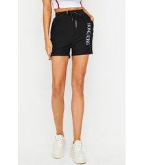 shorts de cintura con cordón de letra negra yoins
