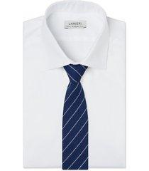 cravatta su misura, lanificio ermenegildo zegna, regimental blu, primavera estate | lanieri