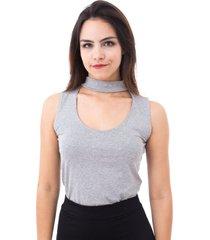blusa moda vício regata gola alta com decote mescla