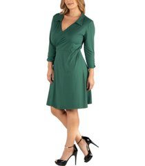 24seven comfort apparel knee length collared plus size wrap dress