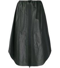 bottega veneta zipped leather midi skirt - black