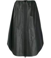 bottega veneta zipped leather midi skirt - black