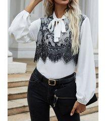 camicetta da donna a maniche lunghe con collo a fiocco in pizzo