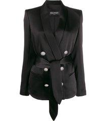 balmain satin belted blazer - black