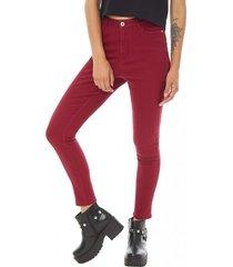 jeans básico crop mujer burdeo corona