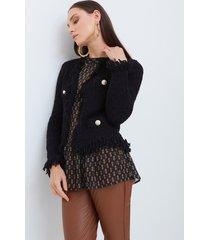 motivi giacca in maglia con bottoni metallici donna nero