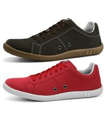 kit sapatênis conforto casual rebento vermelho e marrom