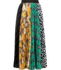msgm floral animal print skirt - black