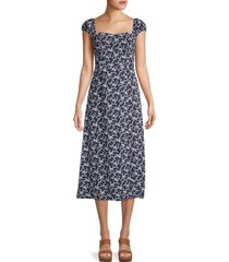 french connection women's cersier printed dress dress - utility blue - size 8