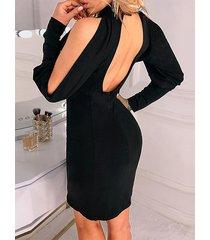 sin respaldo negro diseño corte alto cuello manga larga vestido