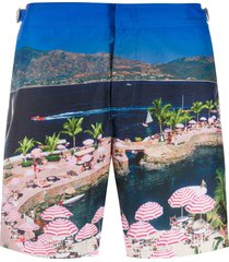 orlebar brown graphic print swim shorts - blue