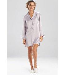 natori feather satin essentials notch collar sleepshirt pajamas, women's, silver, size m natori