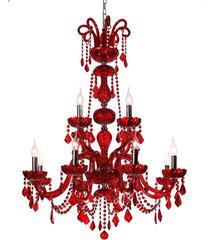 lustre de cristal 12 lâmpadas carmin