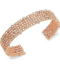 10k rose goldplated & crystal cuff bracelet