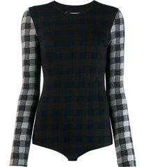 maison margiela checked wool bodysuit - grey