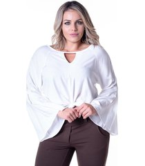 blusa em viscose meiruxa evaz㪠branca - branco - feminino - viscose - dafiti