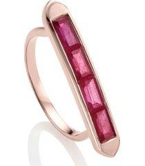 baja precious ruby skinny ring, rose gold vermeil on silver