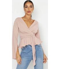 crepe split sleeve ruffle shoulder top, stone