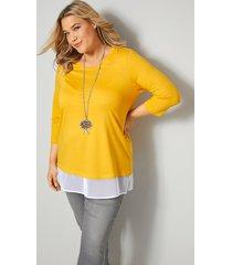 shirt janet & joyce geel::wit
