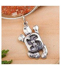 sterling silver pendant necklace, 'sea turtle' (mexico)