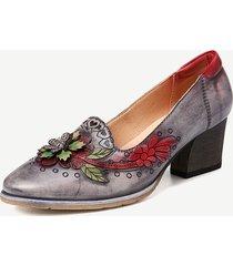 socofy scarpe eleganti con décolleté in pelle floreale con impunture retrò